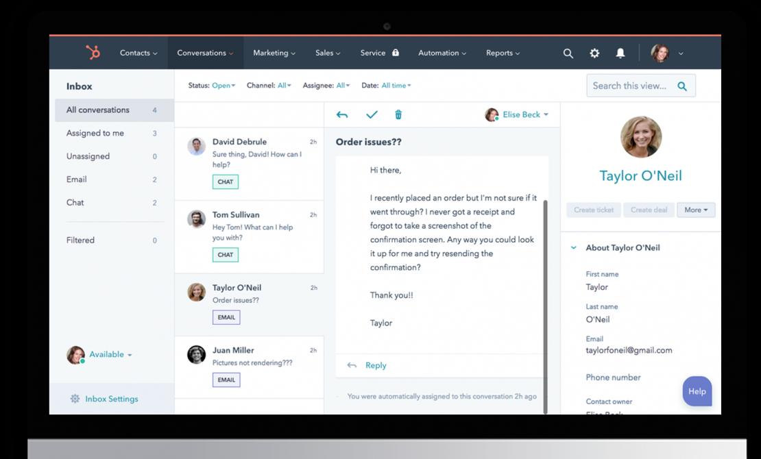 HubSpot CRM | Customer Services Conversation Dashboard